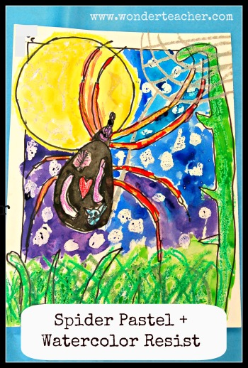 Spider Pastel + Watercolor Resist Project via Wonder Teacher