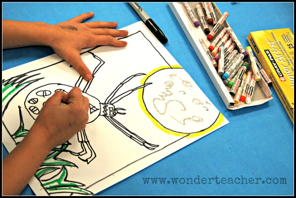 Spider Art- add pastels via Wonder Teacher