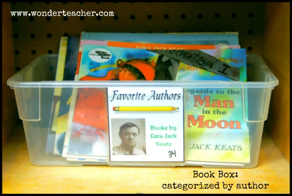 Book Bin Labels via Wonder Teacher