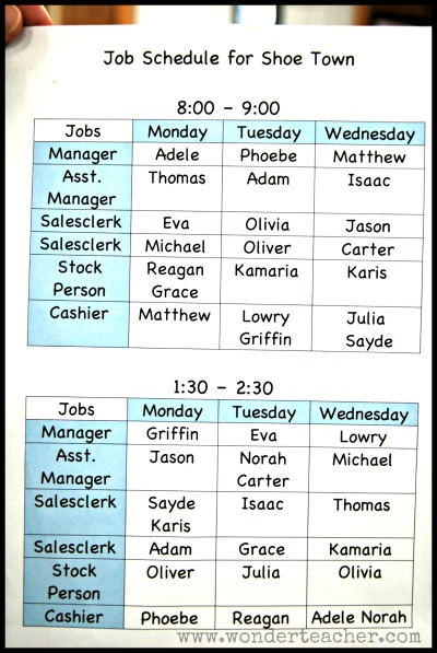 Shoe Store Unit Job Chart via Wonder Teacher