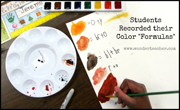 Students record their color mixing via Wonder Teacher