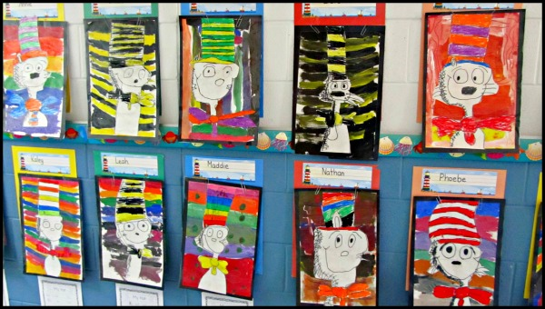 Arts Integration- Students painted original cat in the hat artwork.