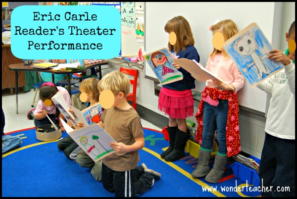 Students perform a script based on an Eric Carle story. Notice their original character artwork on front of their folders.