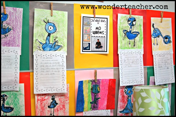 One more shot of an awesome arts-integrated project hanging in Chrissy's room. Students created their own pigeon artwork during an author's study unit on Mo Willems. Notice how each pigeon is different and unique! The art project was connected to writing.