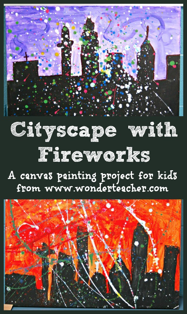 Canvas painting project for kids- cityscape skyline with splatter painting fireworks from Wonder Teacher
